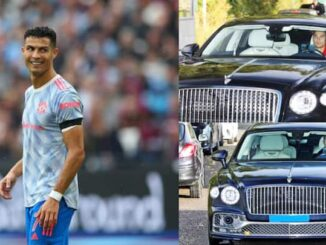 Cristiano Ronaldo stole the show during Man United's midweek training after arriving at Carrington driving a stunning Bentley worth £250,000 (about N141 million)